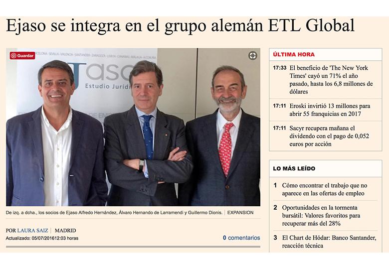 Ejaso se integra en la firma alemana ETL GLOBAL. – Julio 2016