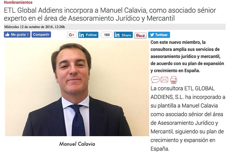 etl global addiens incorpora a manuel calavia como experto en asesoramiento jurídico y mercantil