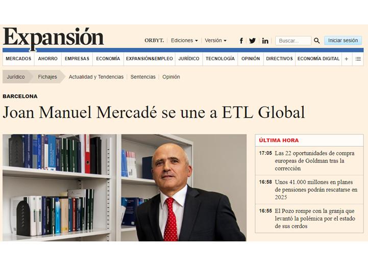 José Manuel Mercadé se une a ETL Global