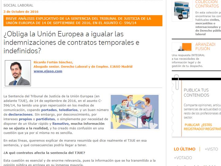 obliga la unión europea a igualar las indemnizaciones de contratos temporales e indefinidos- ejaso