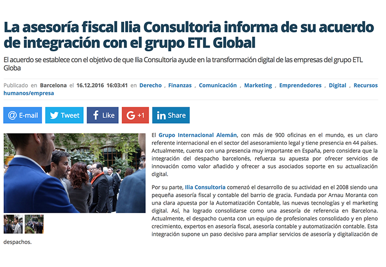 illia consultoria se integra en etl global