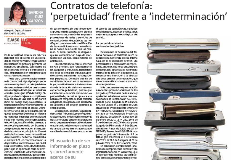 """Contratos de telefonía """"perpetuidad"""" frente a """"indeterminación"""" – Mayo 2017"""