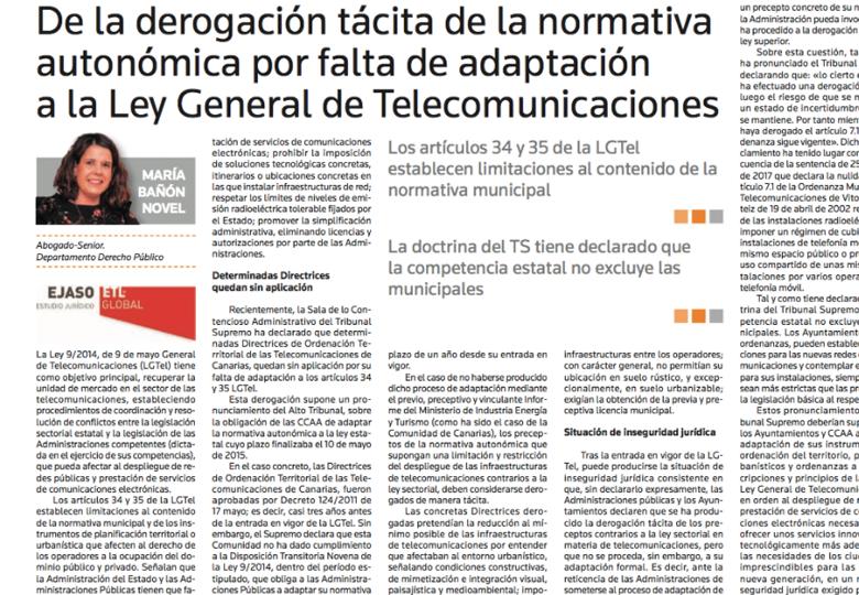 De la derogación tácita de la normativa autonómica por falta de adaptación a la Ley General de Telecomunicaciones – Julio 2017