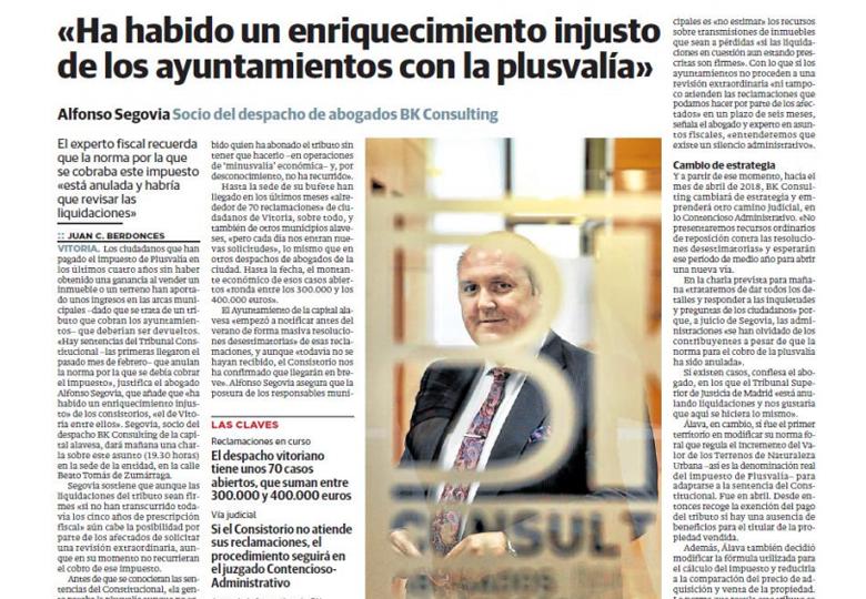 enriquecimiento injusto ayuntamientos plusvalia - bk consulting