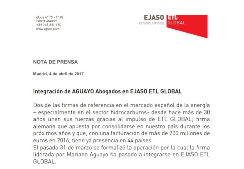 Integración de AGUAYO Abogados en EJASO ETL GLOBAL – Febrero 2018