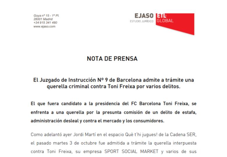 El Juzgado de Instrucción Nº 9 de Barcelona admite a trámite unaquerella criminal contra Toni Freixa por varios delitos. – Febrero 2018
