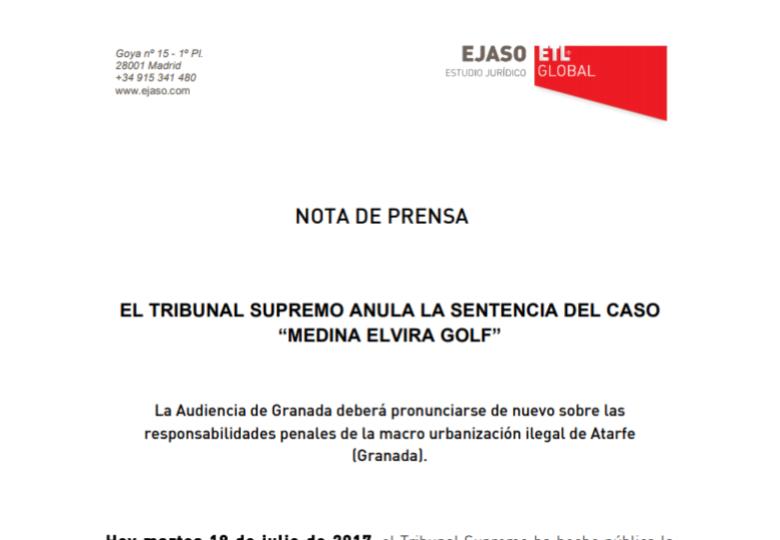 "El tribunal supremo anula la sentencia del caso ""Medina Elvira Golf"" – Febrero 2018"