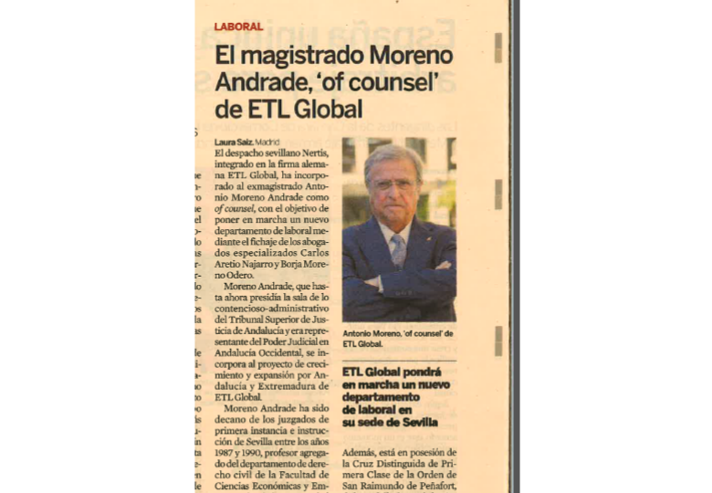 "El magistrado Moreno Andrade ""of counsel"" de Etl Global – Diciembre 2017"