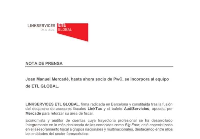 Joan Manuel Mercadé, hasta ahora socio de PwC, se incorpora al equipo de ETL GLOBAL – Febrero 2018