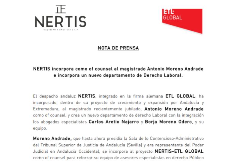NERTIS incorpora como of counsel al magistrado Antonio Moreno Andrade e incorpora un nuevo departamento de Derecho Laboral. – Febrero 2018