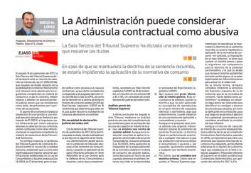 La Administración puede considerar una cláusula contractual como abusiva – Febrero 2018
