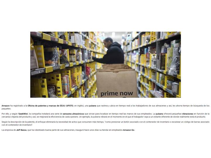 Amazon patenta una pulsera para controlar a sus empleados - vicamark