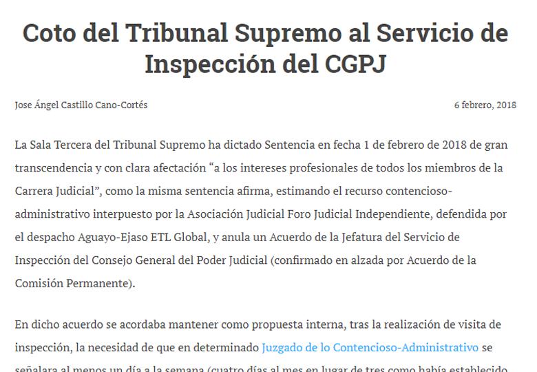 coto del tribunal supremo al servicio de inspección del CGPJ ejaso y aguayo