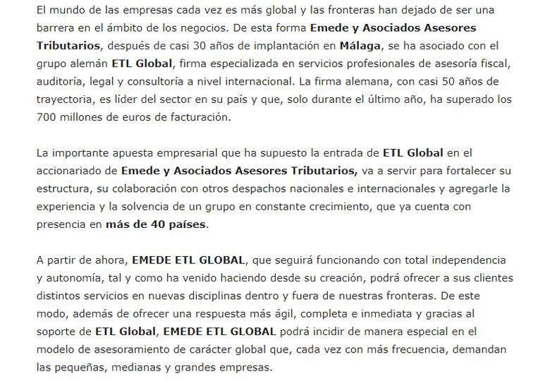 Emede y Asociados se integra en la firma alemana ETL GLOBAL – Enero 2018