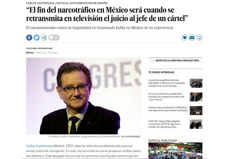 Entrevista a Carlos Castresana de EJASO ETL GLOBAL sobre el fin de la Violencia en Méjico. – Julio 2017