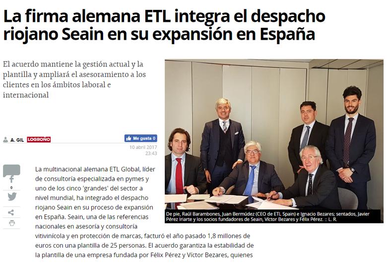 La firma alemana ETL integra al despacho riojano Seain en su expansión en España. – Abril 2017