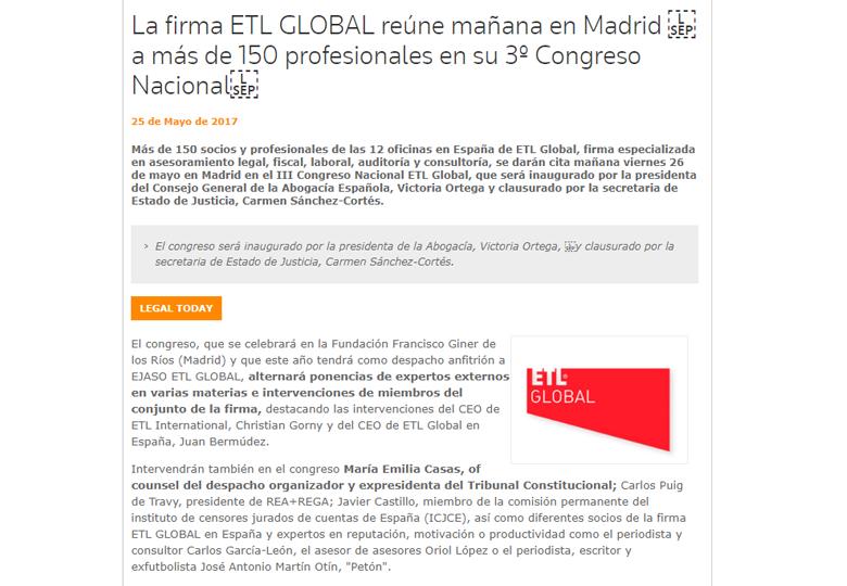 La firma ETL GLOBAL reúne mañana en Madrid a más de 150 profesionales en su 3º Congreso Nacional. – Mayo 2017