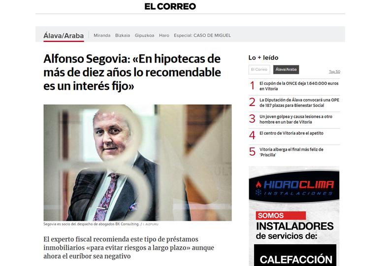 Alfonso Segovia: En hipotecas de más de diez años lo recomendable es un interés fijo – Febrero 2018