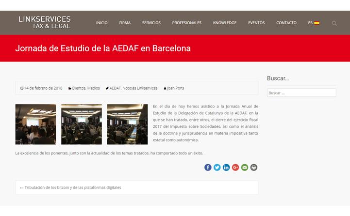 Linkservices – Jornada de Estudio de la AEDAF en Barcelona – Febrero 2018