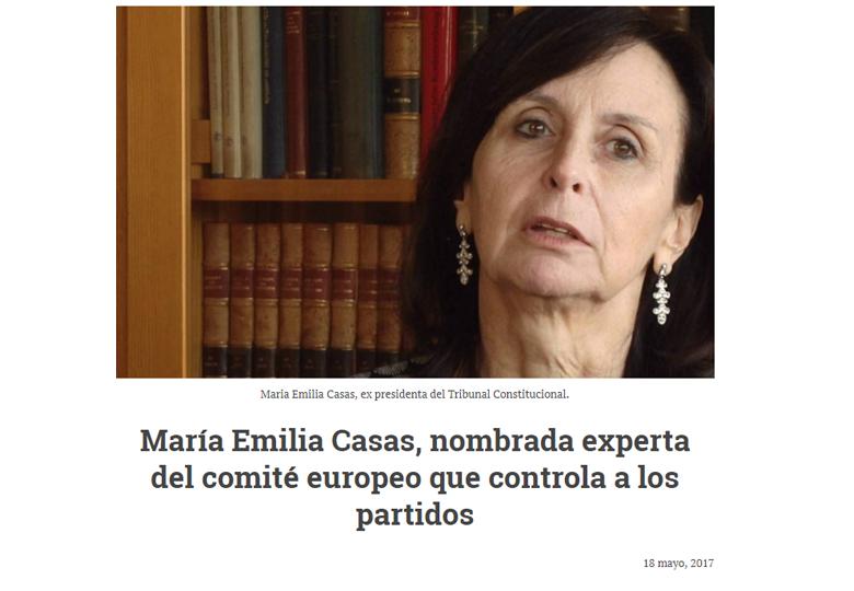 María Emilia Casas, nombrada experta del comité europeo que controla a los partidos. – Mayo 2017