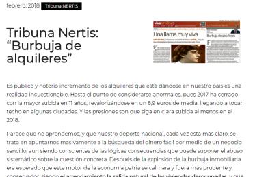 "Tribuna Nertis: ""Burbuja de alquileres"" – Febrero 2018"
