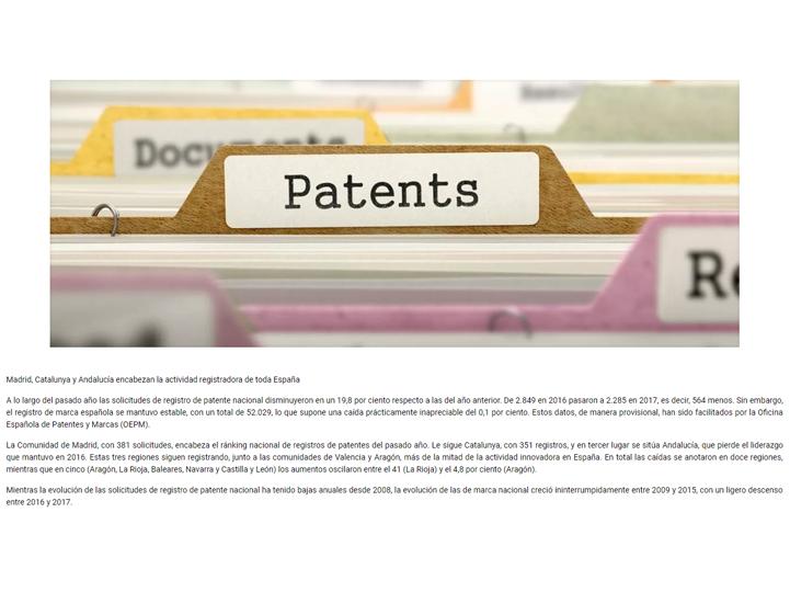 Las solicitudes de patentes registran una caída