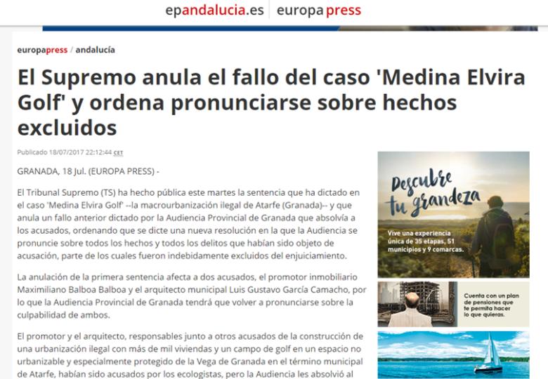 El supremo anula el fallos del caso 'Medina Elvira Golf' y ordena pronunciarse sobre hechos excluidos – Julio 2017