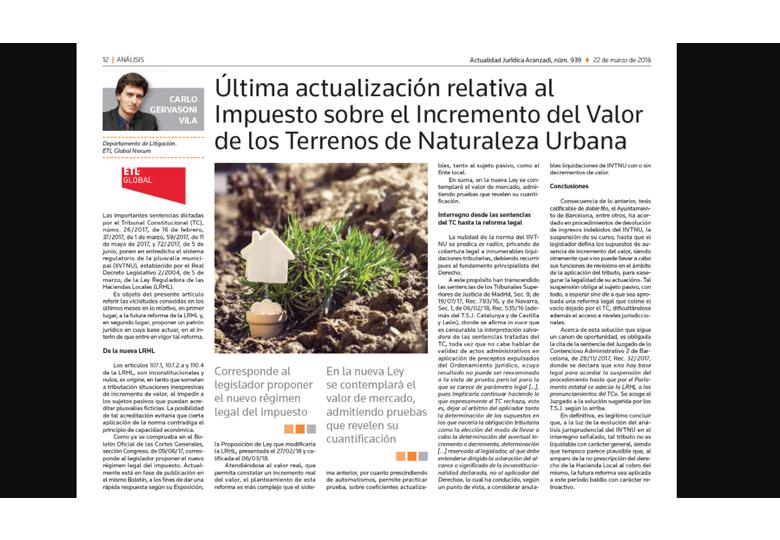 Última actualización relativa al Impuesto sobre el Incremento del Valor de los Terrenos de Naturaleza Urbana. – Marzo 2018