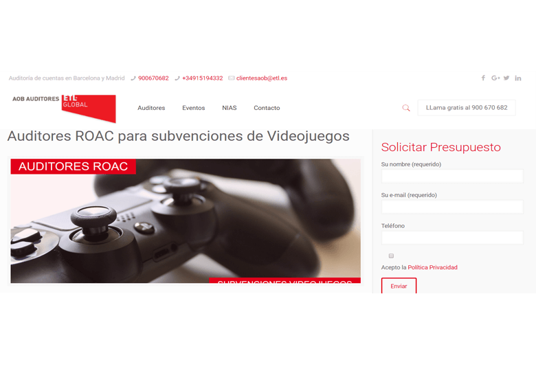 Auditores ROAC para subvenciones de Videojuegos – Abril 2018