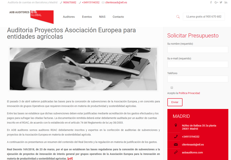'Auditoria Proyectos Asociación Europea para entidades agrícolas'