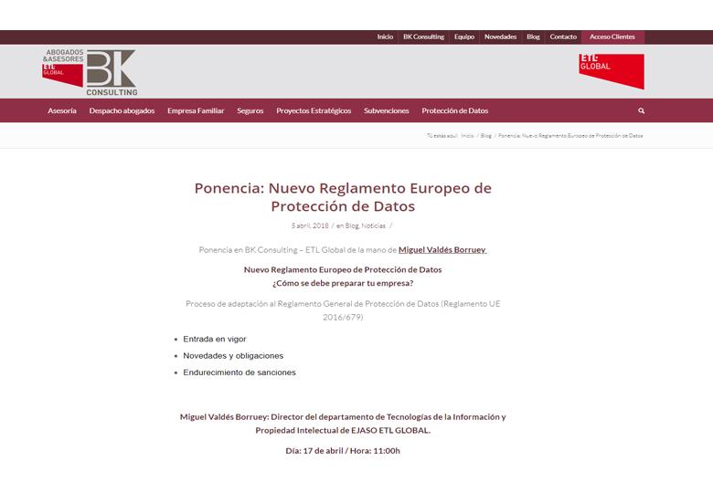 Ponencia: Nuevo Reglamento Europeo de Protección de Datos – Abril 2018