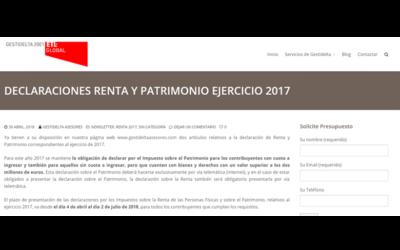 Declaraciones renta y patrimonio ejercicio 2017