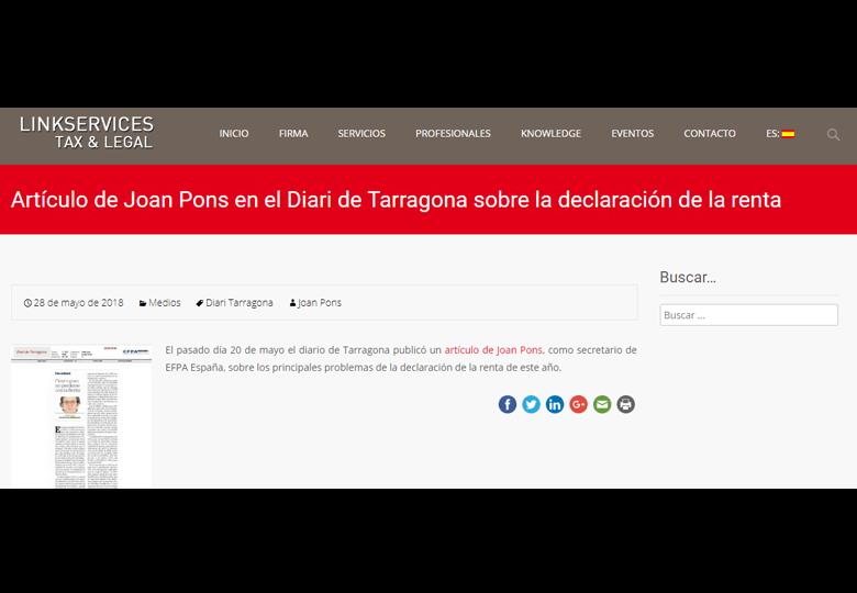 Artículo de Joan Pons en el Diari de Tarragona sobre la declaración de la renta