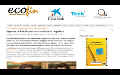 Expertos de EJASO para aclarar dudas en LegalTech – Junio 2018