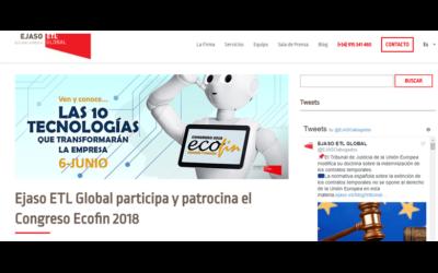 Ejaso ETL Global participa y patrocina el Congreso Ecofin 2018 En el blog de Ejaso-ETL Global – Junio 2018