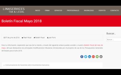 Boletín Fiscal Mayo 2018 En el blog de LINKSERVICES- ETL Global – Junio 2018