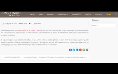 Anulación de la sanción por no haber aportado la documentación de precios de transferencia