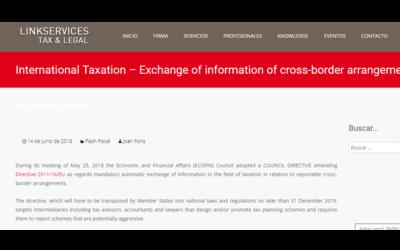International Taxation Exchange of information of cross-border arrangements by intermediaries