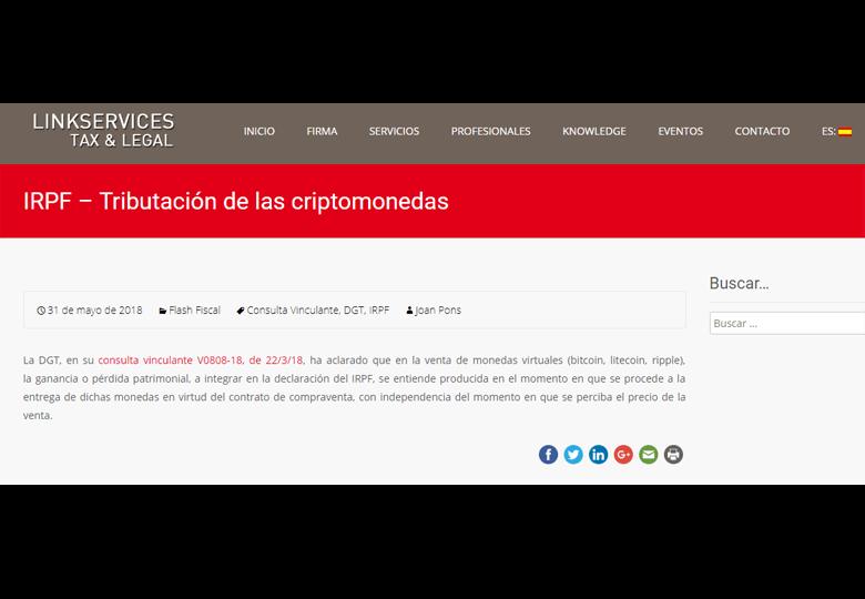 IRPF Tributación de las criptomonedas En el blog de LINKSERVICES-ETL Global – Mayo 2018