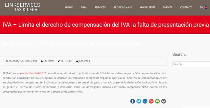 'Limita el derecho de compensación del IVA la falta de presentación previa de la declaración del período en que se generó el exceso'