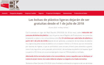 'Las bolsas de plástico ligeras dejarán de ser gratuitas desde el 1 de julio de 2018'