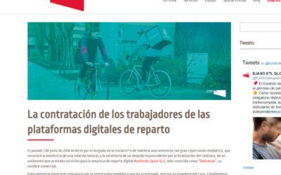 'La contratación de los trabajadores de las plataformas digitales de reparto'