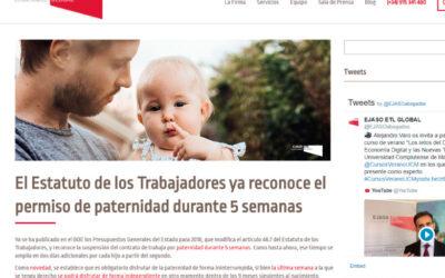 'El Estatuto de los Trabajadores ya reconoce el permiso de paternidad durante 5 semanas'