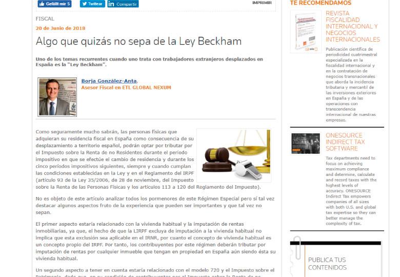 'Algo que quizás no sepa de la Ley Beckham', artículo de Borja González-Anta de Nexum-ETL Global