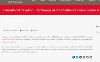 'International Taxation Exchange of information of cross-border arrangements by intermediaries'