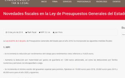 'Novedades fiscales en la Ley de Presupuestos Generales del Estado de 2018'