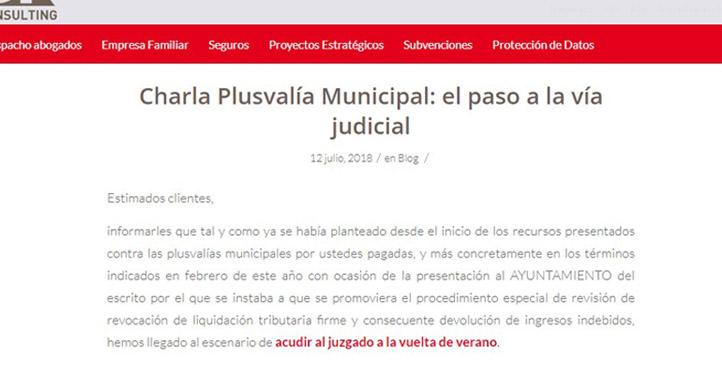 'Charla Plusvalía Municipal: el paso a la vía judicial'