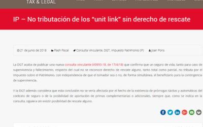 'No tributación de los unit link sin derecho de rescate'