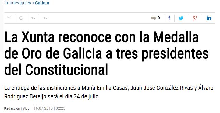 La Xunta reconoce con la Medalla de Oro de Galicia a tres presidentes del Constitucional