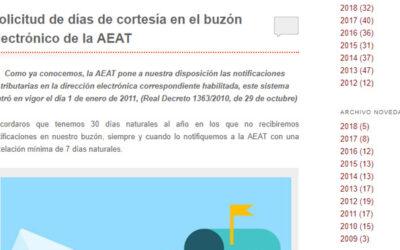 'Solicitud de días de cortesía en el buzón electrónico de la AEAT'
